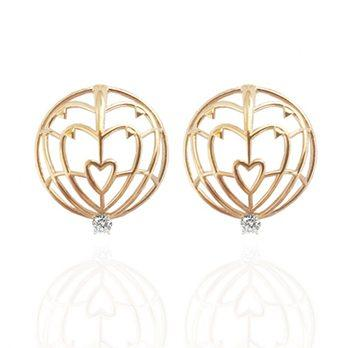 18kt Yellow Gold Everlasting Love Spike Earrings