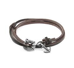 Dark Brown Clyde Silver and Leather Bracelet