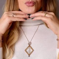Rose Gold Vermeil Balance Crystal Spinning Pendant