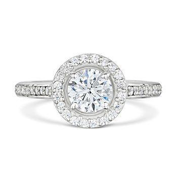 Halo Palladium Diamond Engagement Ring