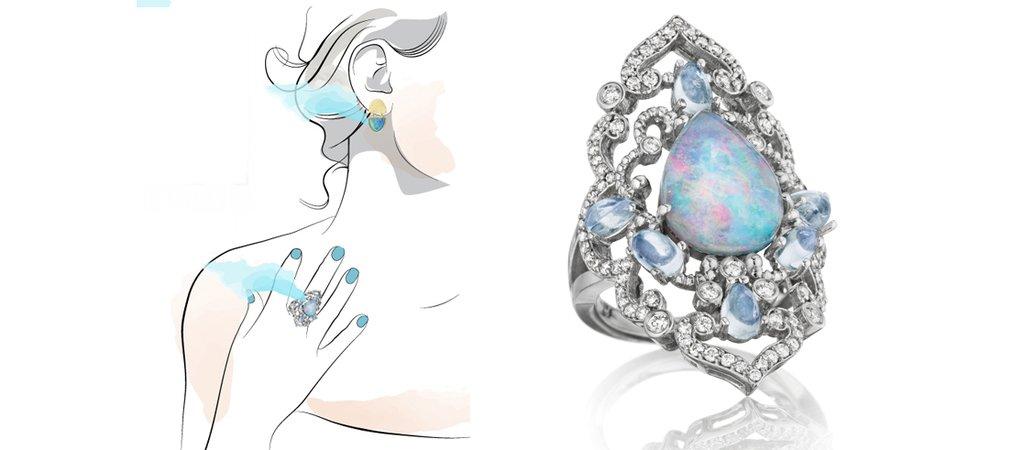 Opal & Moonstone Ring