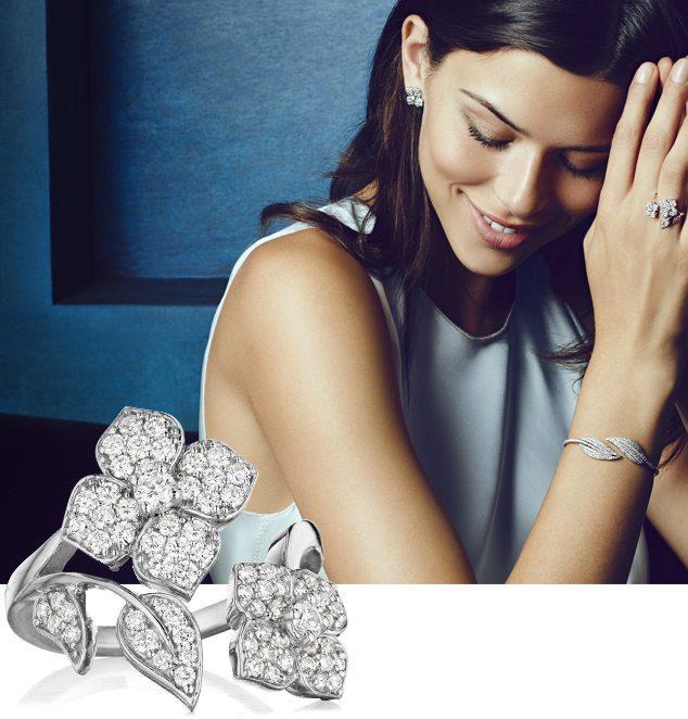 Diamond Flower & Leaf Wrap Around Ring