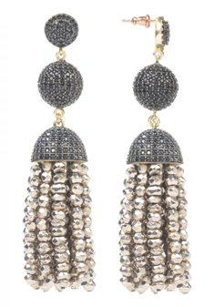 Tassel Ball Earring Pyrite
