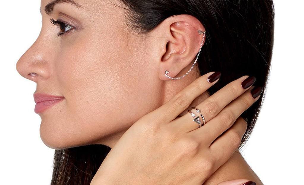 White Gold & Diamond Devotion Stud & Cuff Earring