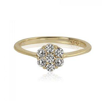Gala 14k Yellow Gold Diamond Flower Ring