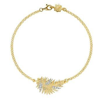 Gold Vermeil & White Topaz Feather Bracelet