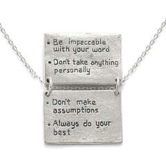 Four Agreements Book Necklace In Silver