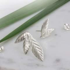 Sterling Silver Mismatched Leaf Stud Earrings