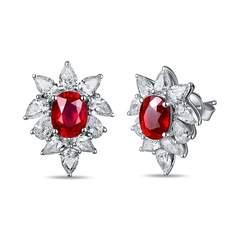 Cushion Cut Ruby Diamond Studs
