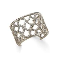 18kt White Gold Cuff Weave Ring With Diamonds