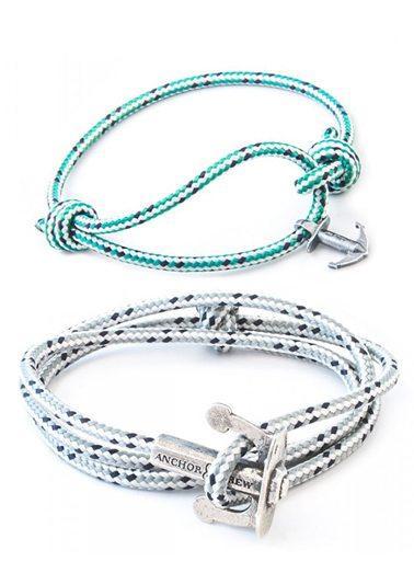 Grey Dash Union & Green Dash Severn Rope Silver Bracelets