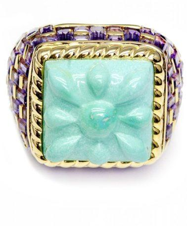 Basket-Weave Ring In Turquoise
