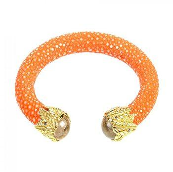 Stingray Cuff With A Bright Orange Stone