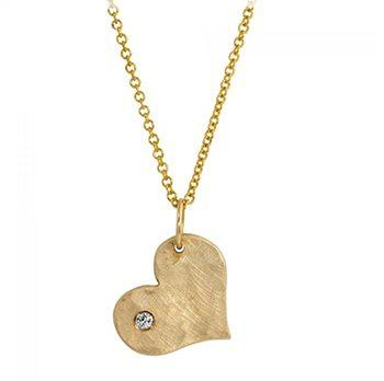 Lana Baby 14k Yellow Gold Heart Necklace With 1 Diamond