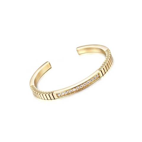 Yellow Gold Plated Titanium Steel Paved Roman Bracelet