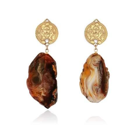 14kt Gold Plated Lokel Earrings in Plum Tones