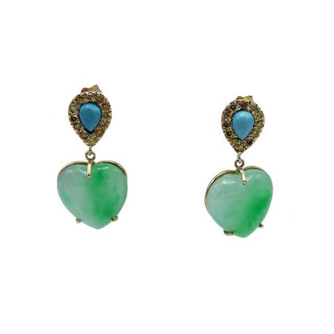 18kt Yellow Gold Jade Heart & Turquoise Earrings