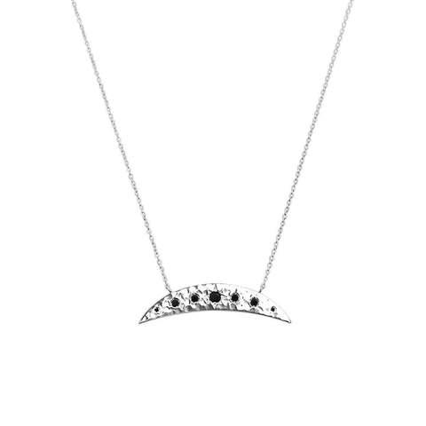 Sterling Silver & Black Spinel Eclipse Necklace