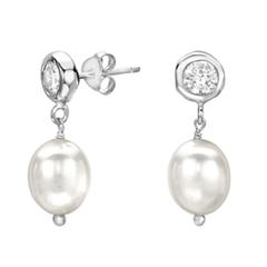 Baroque Pearl Drop Silver Earrings