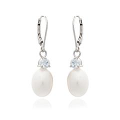 Cultured Pearl & Cubic Zirconia Drop Earrings- White Gold