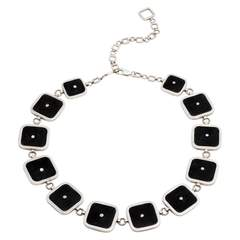 Sterling Silver & Leather Square Choker