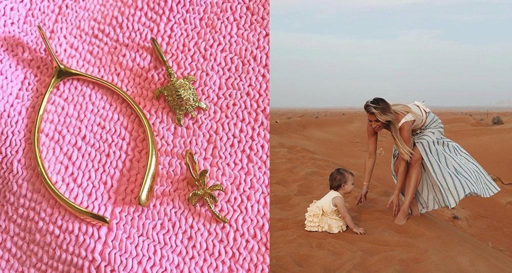 Large Gold Plated Wishbone Charm