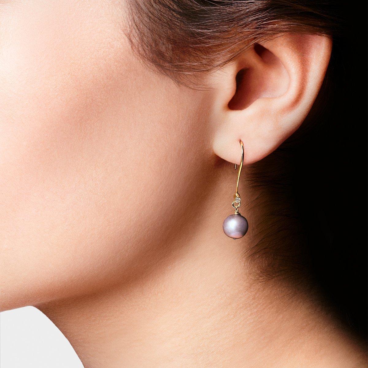 Yellow Gold & Diamond Pearl Drop Earrings | Kaizarin
