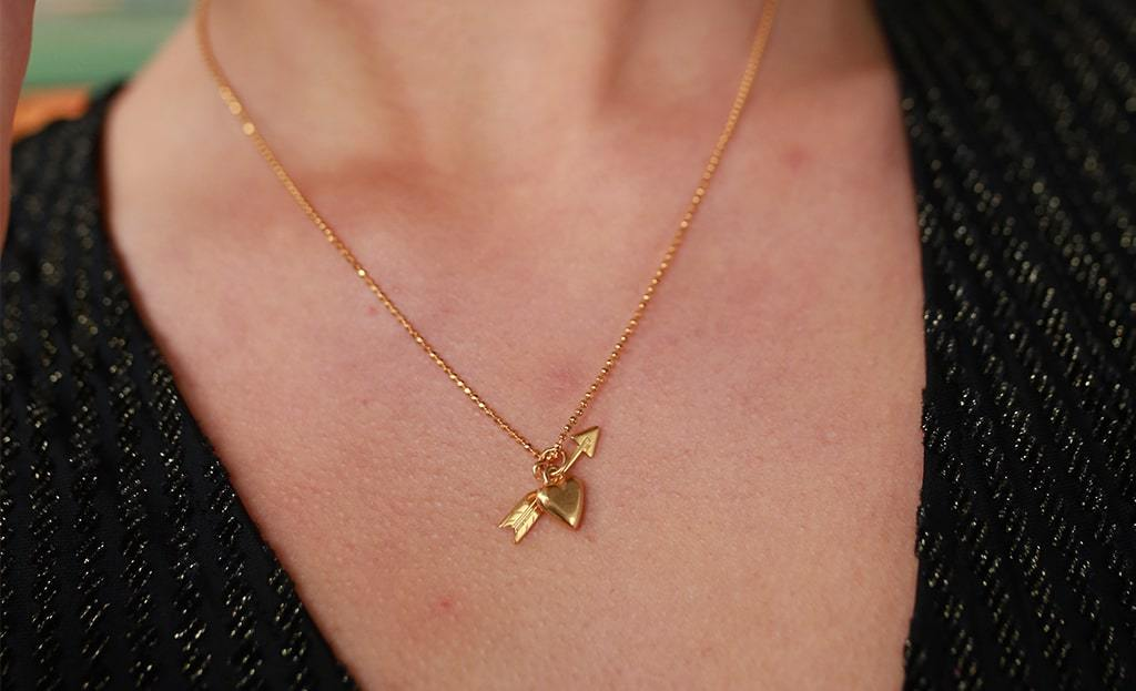 Sterling Silver & Gold Heart & Arrow Pendant Necklace