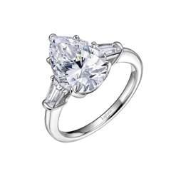 Sterling Silver & Platinum Three Stone Pear Ring