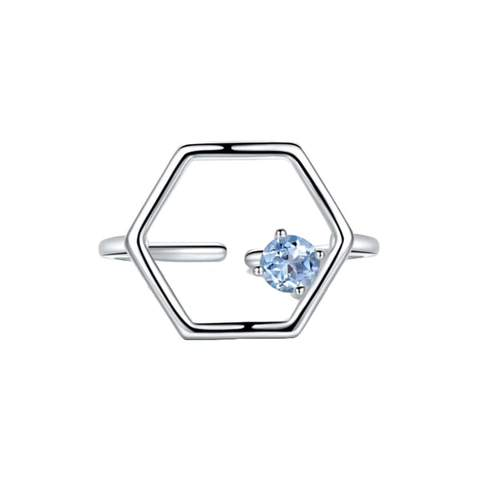 Sterling Silver Linear Ring With Topaz
