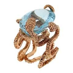 Blue Topaz Snake RIng