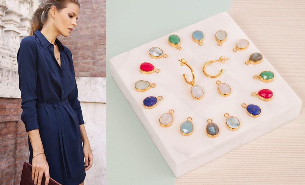 Yellow Gold Plated Manhattan Interchangeable Gemstone Earrings