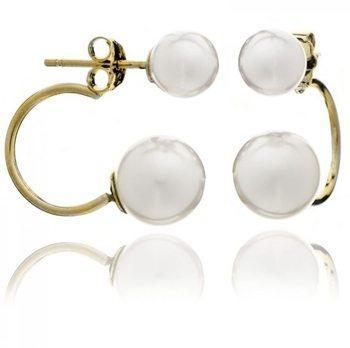 Double Pearl Stud Earrings on Gold