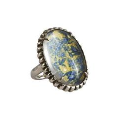 Silver Womens Material Girl Ring Yellow Floral