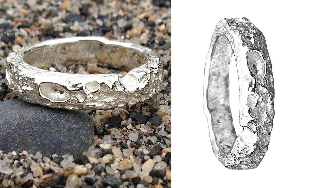 Cornish Beach Sand Textured Silver Wedding Ring
