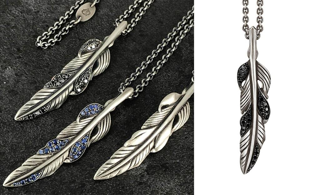 Sterling Silver Feather Pendant With Black Diamonds