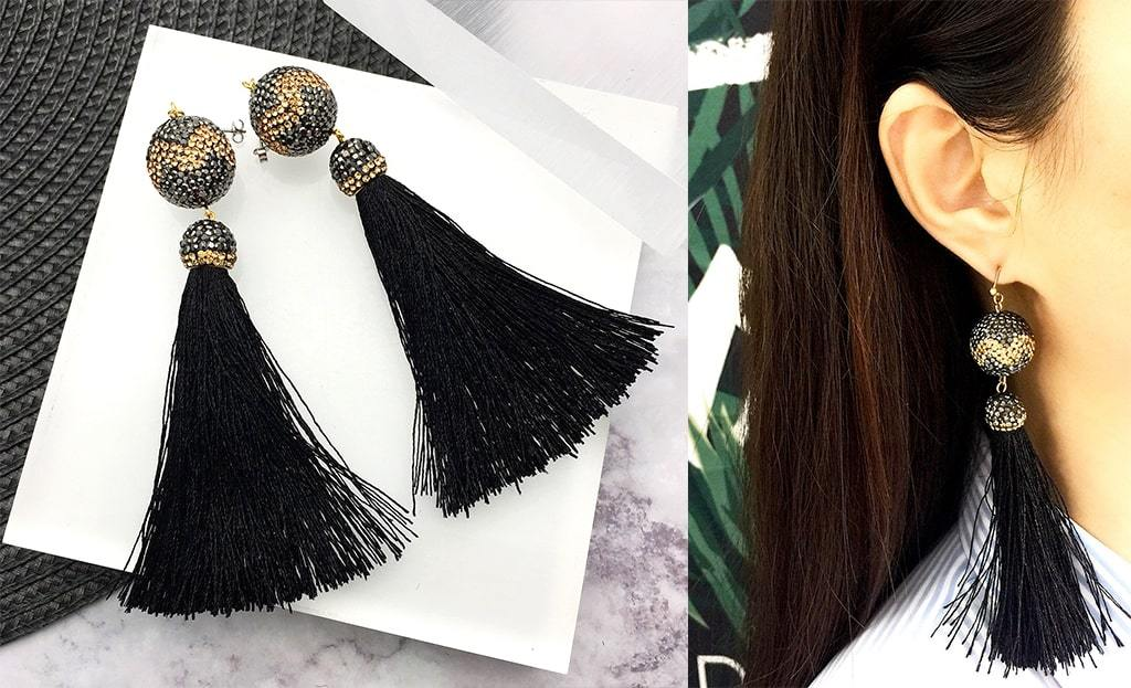 Black & Gold Rhinestone Tassels Earrings