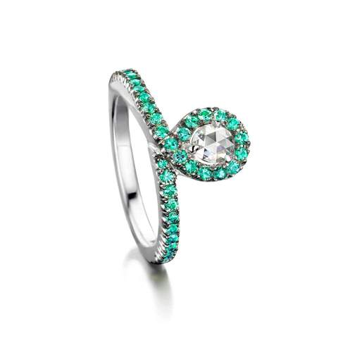 18kt White Gold EyeOnYou Ring With Diamond & Emeralds