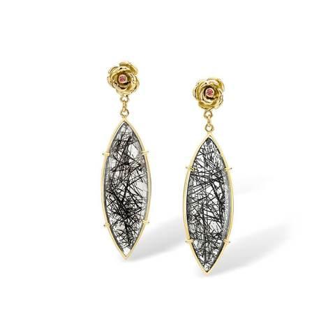 18kt Yellow Gold Coup De Coeur Earrings With Rutilated Quartz & Diamonds £2,433.00