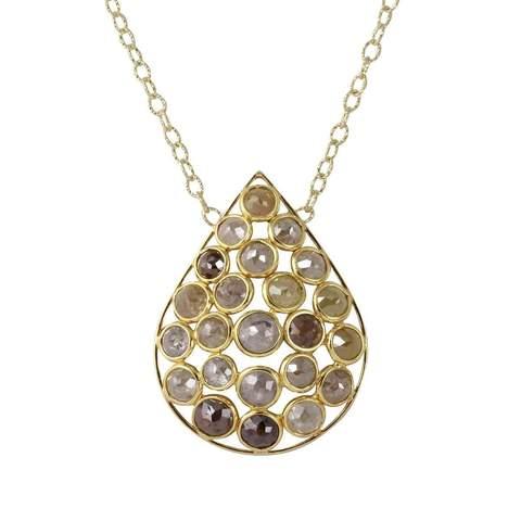 18kt Yellow Gold Natural Colour Rose-Cut Diamond Drop Shape Necklace £3,901.00