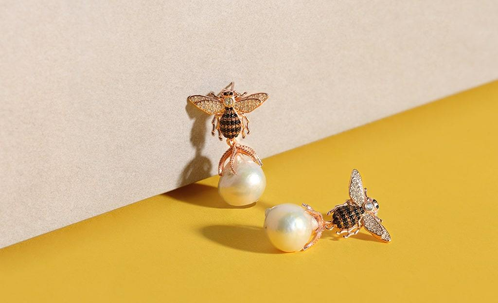 Yellow Gold Plated Honey Bee Baroque Pearl Drop Earrings