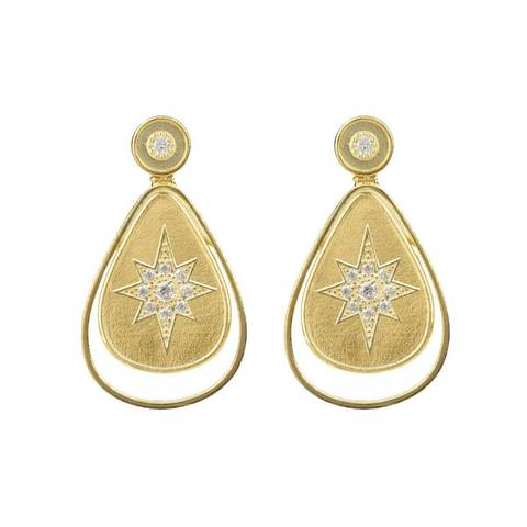 Yellow Gold Plated Star Burst Brushed Teardrop Earrings