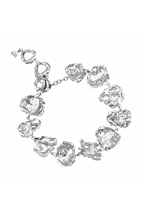 Cornish Seawater Shaped Rippled Sterling Silver Handmade Chunky Bracelet