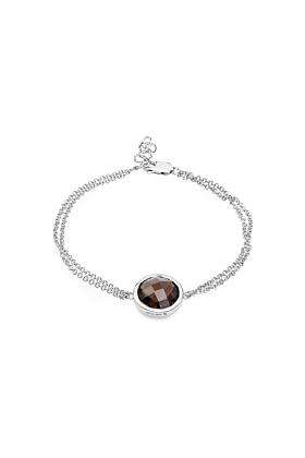 Rhodium Plated Silver Solitaire Smoky Quartz Chain Bracelet