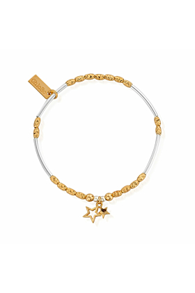 Gold and Silver Double Star Bracelet