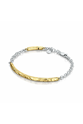 Yellow Gold Beaten Bangle with Silver Chain | Becky Rowe