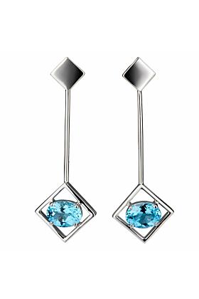 Sterling Silver Blue Topaz Sparkling Big Earrings