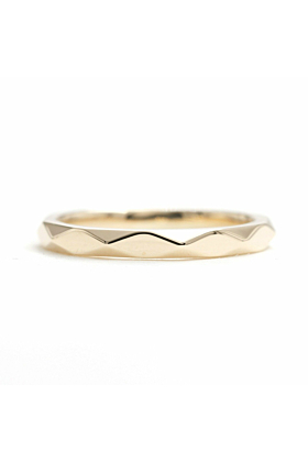 14kt Gold Hammered Wedding Band