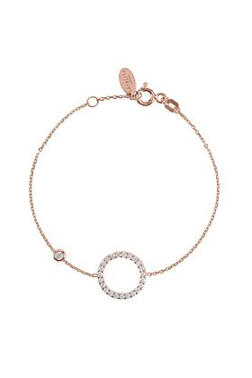 Rose Gold Plated Sparkling Halo Circle Bracelet