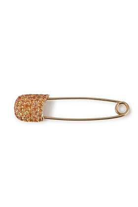 18kt Yellow Gold & Orange Sapphire Safety Pin